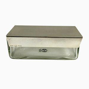 Recipiente para mantequilla vintage de vidrio y chapado de plata de Lino Sabattini, años 70