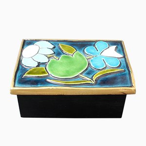 Jewellery Box with Decorative Ceramic Lid by François Lembo, 1960s