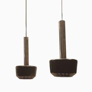 Lámparas colgantes de latón negro, años 50. Juego de 2