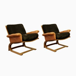 Vintage Swedish Armchairs, 1970s, Set of 2