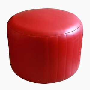 Large Italian Red Skai Pouf, 1960s