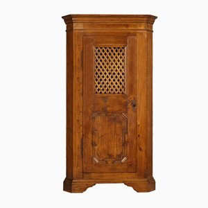 Antique Tyrolean Solid Pine Corner Cupboard