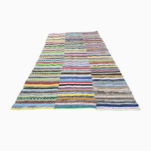 Vintage Anatolian Striped Cotton Kilim Carpet