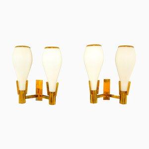 Mid-Century Wandlampen aus Glas & Messing, 1950er, 2er Set