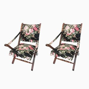 Vintage Wood & Floral Corduroy Folding Chairs, Set of 2