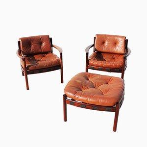 2 Sessel & Fußhocker von Arne Norell für Coja, 1960er