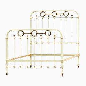 Antikes französisches Einzelbett aus Eisen & Messing
