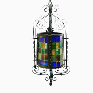 Antique Wrought Iron Leaded Lantern