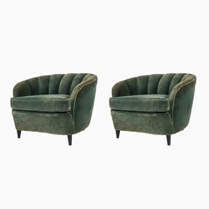 Art Deco Blue Club Chairs, 1930s, Set of 2