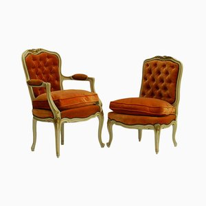 Antique French Boudoir Armchair and Side Chair Set