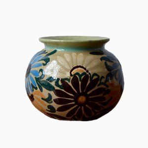 Vintage Vase mit Blumen-Motiven von Jean Garillon für Elchinger