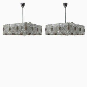 Vintage Glass and Chromed Pendant Lamps by Kamenický Šenov, 1970s, Set of 2