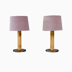 Swedish Brass & Bamboo Table Lamps by Bergboms, 1960s, Set of 2