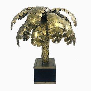 Lampada da tavolo Hollywood Regency in legno di palma di Maison Jansen, anni '70