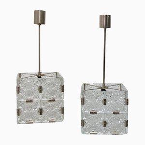 Lampes à Suspension Cube en Verre de Kamenický Šenov, 1970s, Set de 2