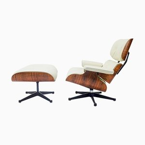 Set aus Sessel & Fußhocker von Eames für Mobilier International