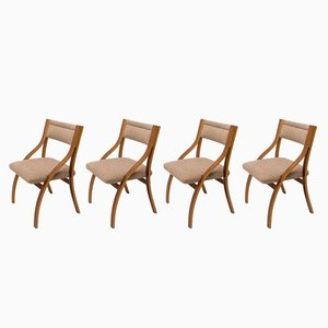 Vintage Mahogany Lounge Chairs by Ludvík Volák for Dřevopodnik Holešov, 1970s, Set of 4