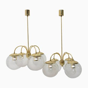 Lámparas de techo vintage con cuatro brazos de Kamenický Šenov, años 70. Juego de 2