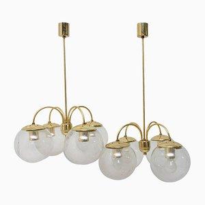 Vierarmige Vintage Deckenlampen von Kamenický Šenov, 1970er, 2er Set