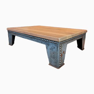 Vintage Industrial Metal & Oak Coffee Table, 1920s