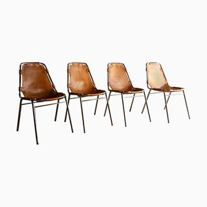 Les Arcs Esszimmerstühle aus Leder von Charlotte Perriand für Cassina, 1970, 4er Set