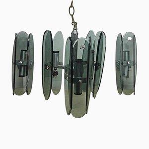 Lámpara de araña era espacial de vidrio gris y dos apliques de F.A.B., años 70. Juego de 3