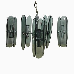Space Age Grey Glass Chandelier & 2 Wall Sconces from F.A.B., 1970s, Set of 3