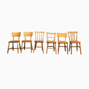 Mid-Century Beech Wood Dining Chairs, Set of 6