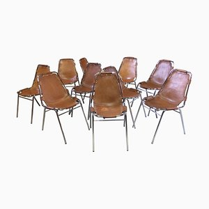 Les Arcs Leather Dining Chairs by Charlotte Perriand for Cassina, 1970s, Set of 10