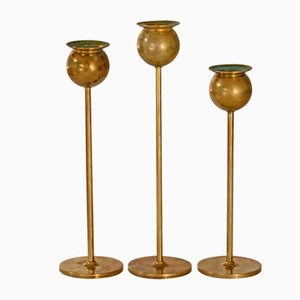 Tulip Candleholders by Pierre Forsell for Skultuna, 1980s, Set of 3