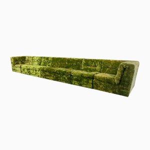 Modular Green Velvet Sofa Set, 1960s