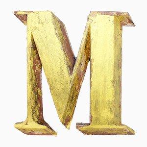 Lettera M vintage in metallo, anni '60