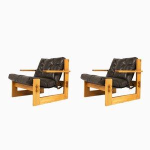 Große Braune Sessel aus Leder & Esche, 1970er, 2er Set