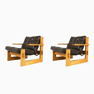Large Brown Leather & Ash Armchairs , 1970s, Set of 2