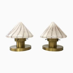Italian Murano Glass & Brass Table Lamps, 1970s, Set of 2