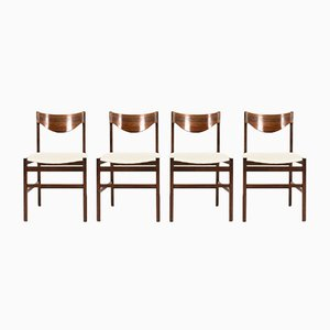 Rosewood & Linen Chairs by Gianfranco Frattini, 1960s, Set of 4