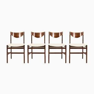 Stühle aus Palisander & Leinen von Gianfranco Frattini, 1960er, 4er Set