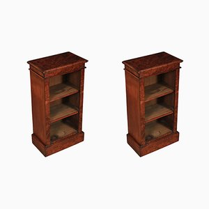 Small Walnut Open Bookcases, 1920s, Set of 2