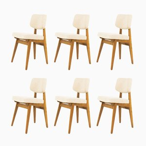 Ash & Beige Fabric Chairs by Alain Richard, 1950s, Set of 6