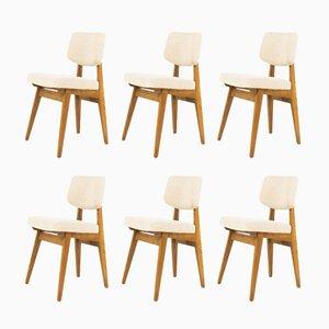 Stühle aus Esche & beigem Stoff von Alain Richard, 1950er, 6er Set
