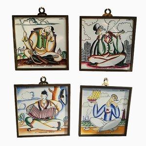 Azulejos de cerámica de Giò Ponti para Richard Ginori, años 30. Juego de 4
