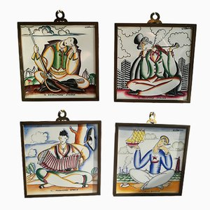 Ceramic Wall Tiles by Giò Ponti for Richard Ginori, 1930s, Set of 4