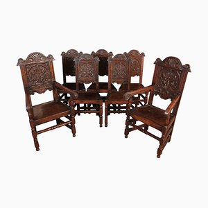 Carved Oak Wainscott Dining Chairs, 1900s, Set of 8