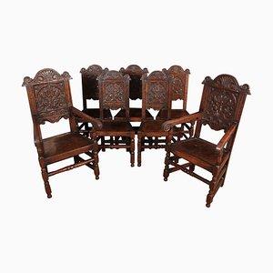 Wainscott Esszimmerstühle aus geschnitzter Eiche, 1900er, 8er Set