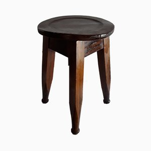 Antique English Round Stool in Oak