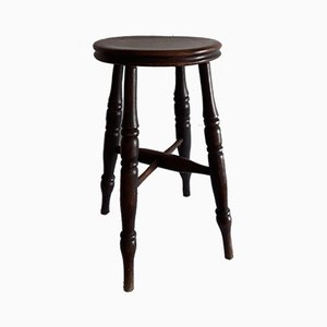 Antique English Round Stool in Elm