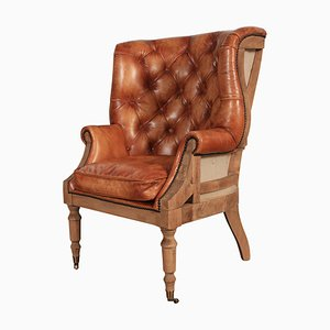 Hand-Dyed Leather & Oak Barrel Back Chesterfield Wing Chair, 1970s