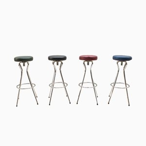 Mid-Century Modern German Rotating Colored Bar Stools, 1950s, Set of 4