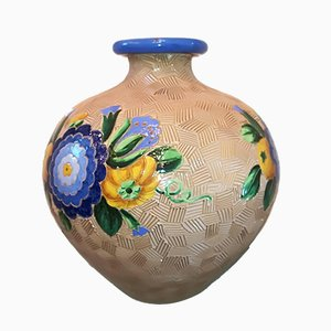 Vintage Model 3130 Majolica Ceramic Vase by Giò Ponti for Richard Ginori, 1930s