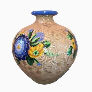Vintage Model 3130 Majolica Ceramic Vase by Giò Ponti for Richard Ginori, 1930s